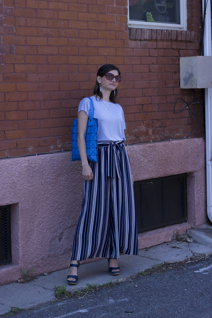 blue wide legged striped pants